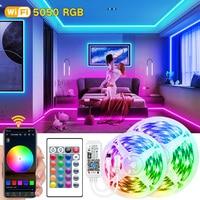 WiFi LED Streifen Lichter BT APP Controller 5050 RGB Diode Flexible Wasserdichte Band Urlaub Partei Schlafzimmer Dekoration TV PC Hintergrundbeleuchtung