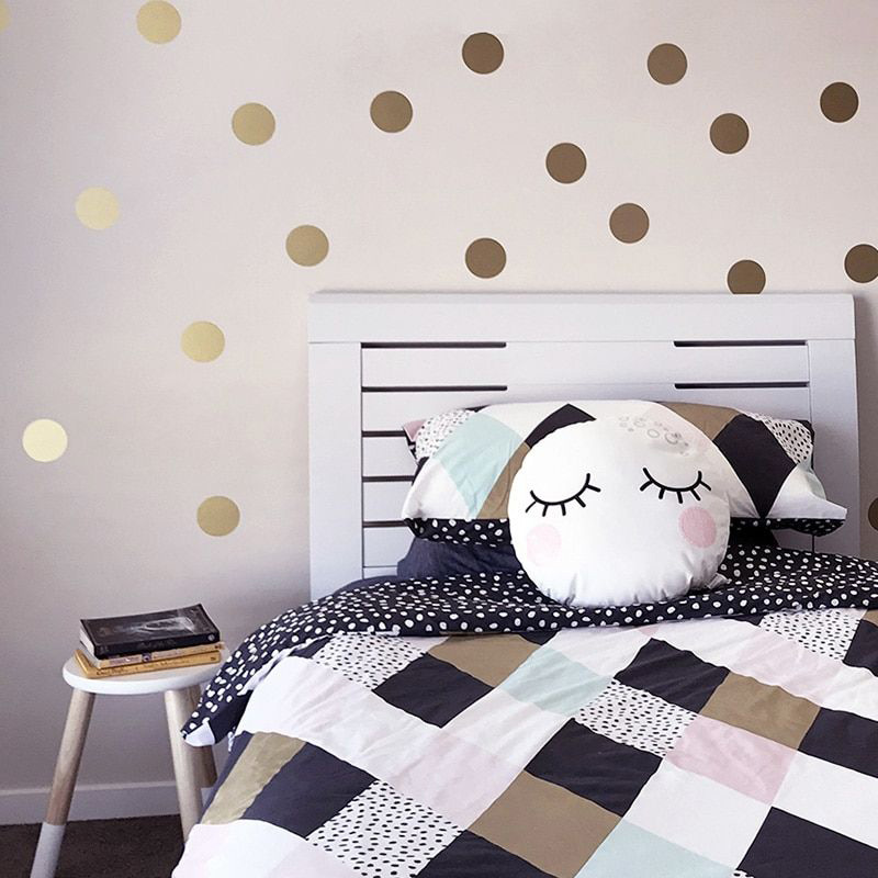 Gold Silver Polka Dots Wall Stickers Gold Circle Wall Decals For  Kids Room Home Decor DIY Stickers For Baby Nursery Room