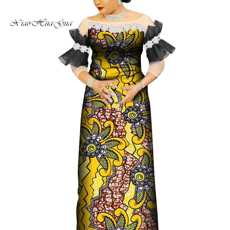 2020 Summer Ankara Long Dresses For Women African Wax Print Lace Robe Africaine Bazin Riche African Dresses For Women WY6730