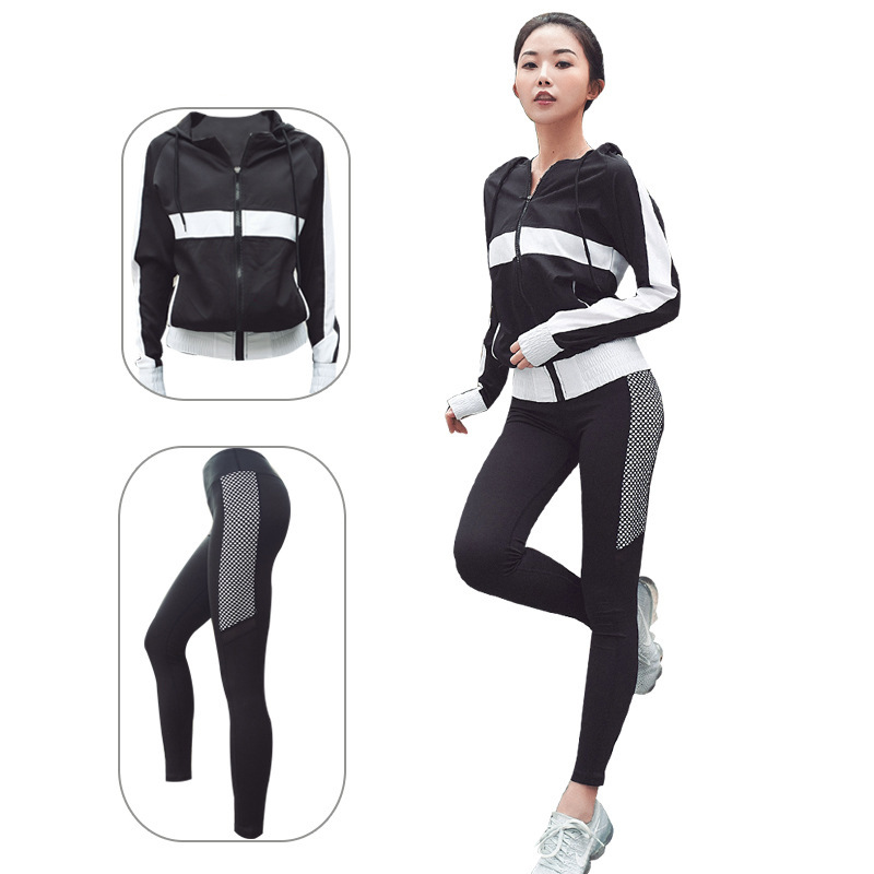 Autumn And Winter New Style Yoga Fitness Suit Joint Hooded Zipper Pocket Loose-Fit Coat Black And White You Dotted Athletic Pant