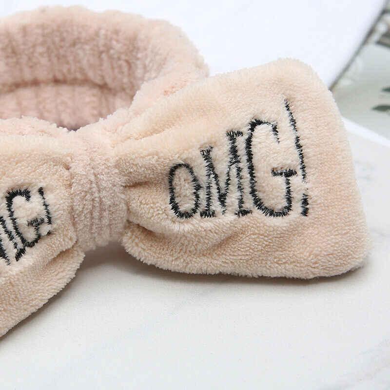 1PCS จดหมาย OMG ขนแกะปะการังโบว์ Headbands สำหรับหญิงสาวน่ารักผู้ถือผม Hairbands ผมวง Headwear ผมอุปกรณ์เสริม