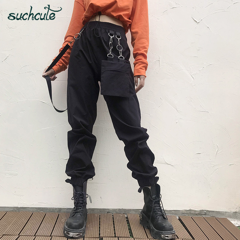 SUCHCUTE Pants For Women In A Cage Hippie Elastic Waist Harem Pants Metal Chain Gothic Punk Joggers Streetwear Female Trousers