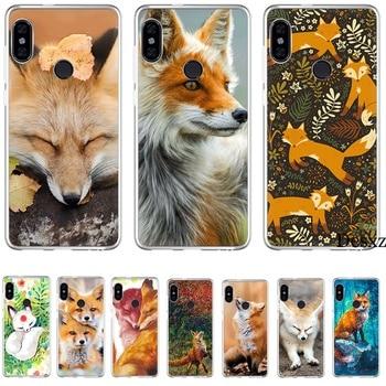 Caja del teléfono para Xiaomi mi CC9 CC9E 9T mi x 2S 6 8 9 SE A1 A2 5X 6X MAX 3 A3 Pro Lite cubierta lindo zorro en otoño hojas bosque Shell