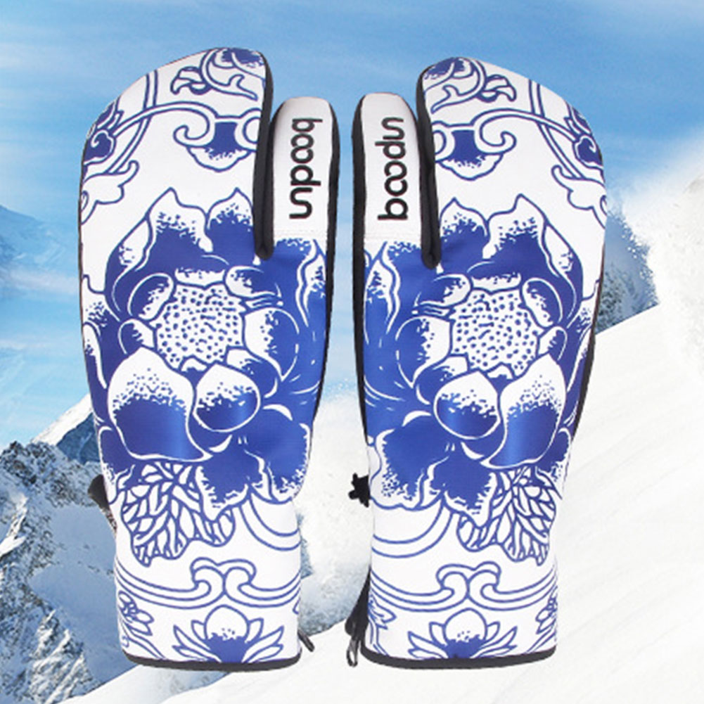 1 Pair Anti Skid Keep Warm Zippered Outdoor Climbing Camping Wind Proof Winter Sports Ski Gloves Protective Water Resistant