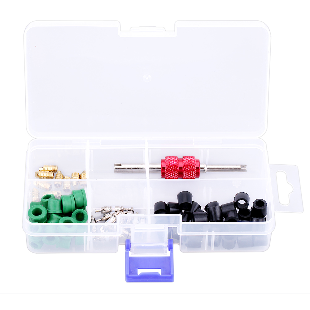 Auto A//C Air Conditioning Valve Core Tool Remover Installer Assortment Kit 71Pcs