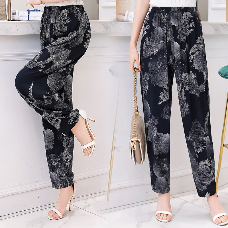 New Women plus size elastic high Waist summer check print ladies cotton Trousers