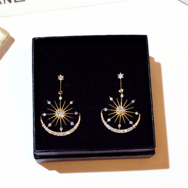 South Korea Dongdaemun New Wild Face Thin S925 Silver Needle Fashion Temperament Sun Stars Moon Net Red Earrings