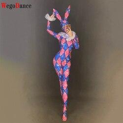 Женский костюм для косплея на Хэллоуин, сексуальный комбинезон с кроликом для девочек, DS Bar, новый танцевальный костюм с воротником ГОГО для ...