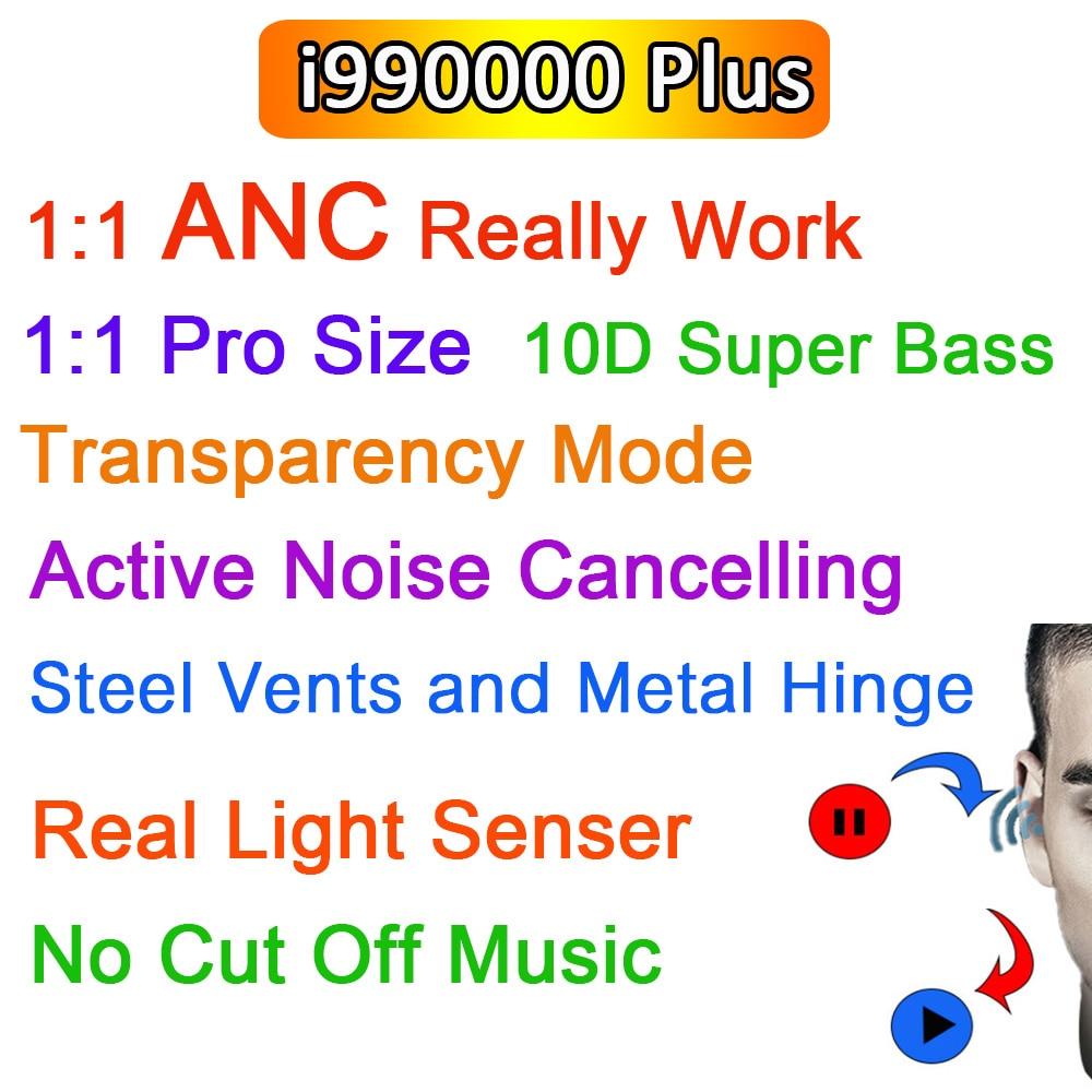 Беспроводные TWS наушники ANC i990000 Plus, Bluetooth наушники с шумоподавлением и прозрачностью, супер бас PK i9000 i900000 Pro, 1:1