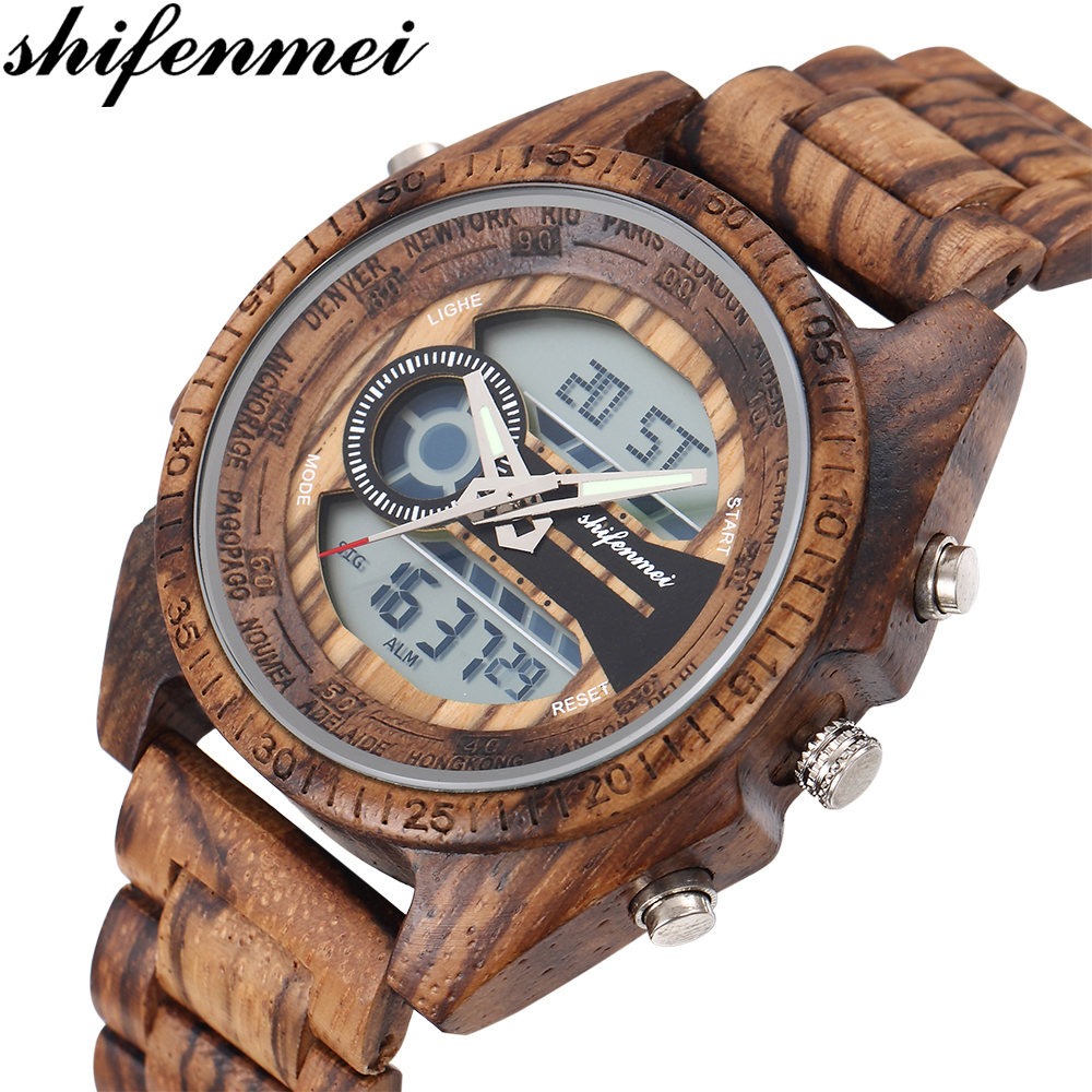Shifenmei Digital Watch Men Top Luxury Brand Wood Watch Man Sport Casual Led Watches Men Wooden Wristwatches Relogio Masculino