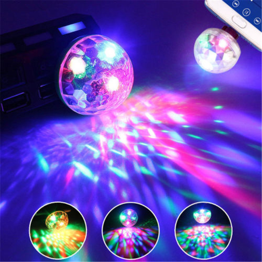 USB LED Atmosphere Car Light Stage Magic DJ Disco Ball Lamp Indoor Home Party USB To Apple Android Phone Voice Control Lights