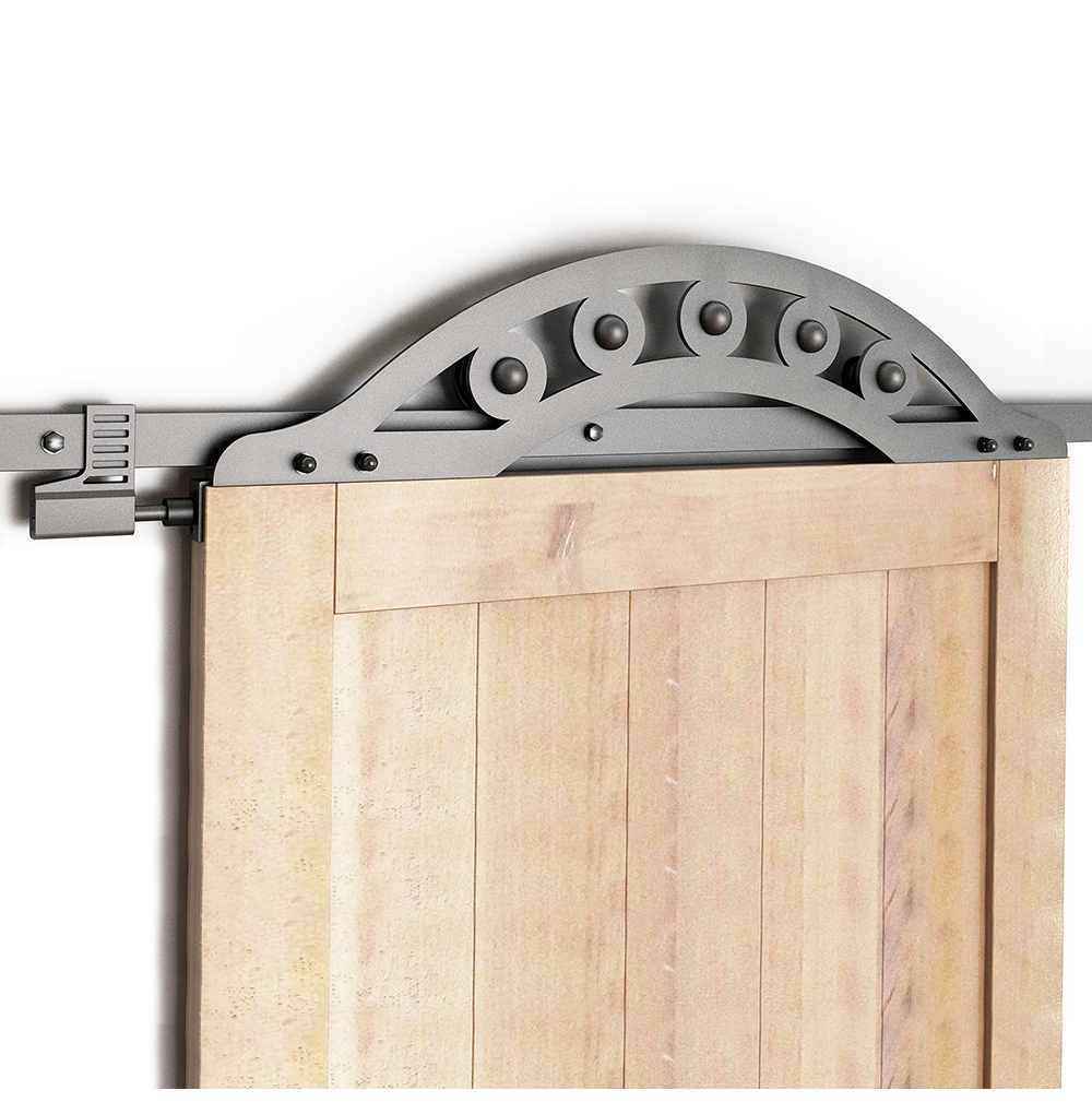 DIYHD Rustic Black Wrought Iron Fan-Shaped One Piece Roller Sliding Barn Door Hardware