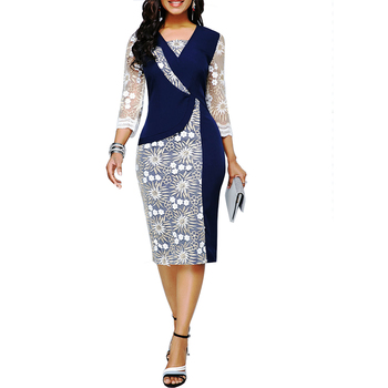 Autumn Summer Dress Women 2020 Casual Plus Size Slim Office Pencil Bodycon Dresses Elegant Sexy Patchwork Lace Long Party Dress autumn summer new women shirt dress long sleeved female dresses slim fashion party office lady sundress plus size casual rob