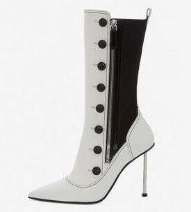 Blanc noir Patchwork élastique en cuir véritable boutons fermeture éclair fer talons aiguilles bout pointu mode mi-mollet bottes femme