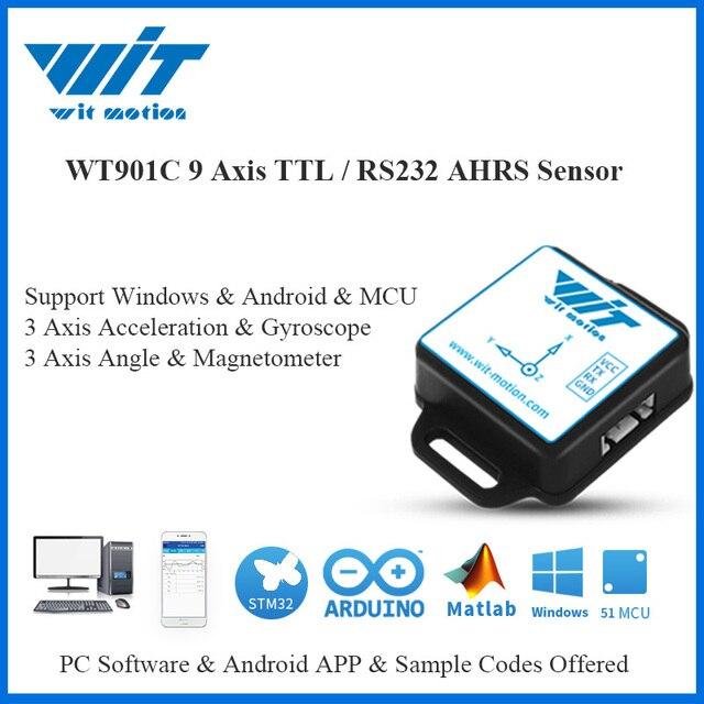 جهاز استشعار WitMotion WT901C IMU AHRS 9 محاور بزاوية رقمية + مقياس تسارع + جيروسكوب + بوصلة إلكترونية MPU9250 على الكمبيوتر الشخصي/أندرويد/MCU