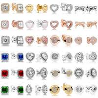 2019 NEUE 100% 925 Sterling Silber Ohrringe Unterschrift Bogen Quadrat Bohrer Liebe Herz Ohr Studs Charme Perlen Fit Original DIY dangler