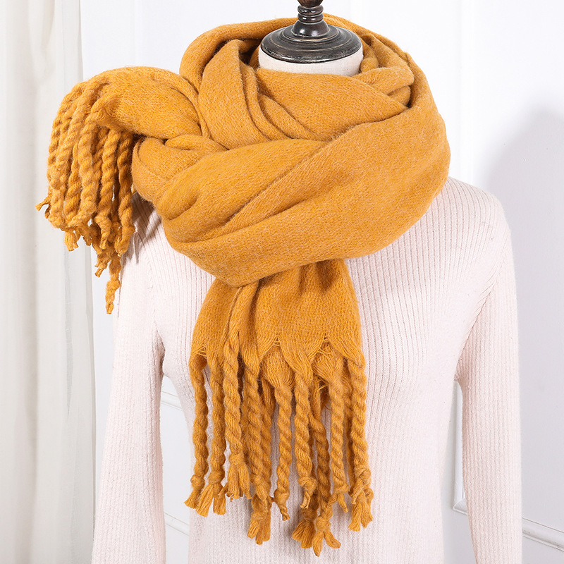Foreign Trade Manufacturers Za New Style Autumn & Winter Faux Cashmere Solid Color Handmade Tassels Thick Warm Scarf Women's Cus