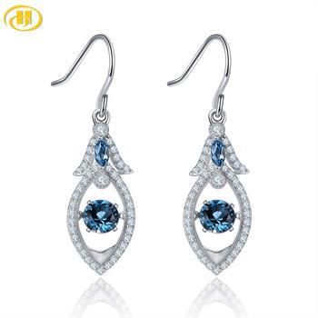 Hutang Blue Hoop Earrings 925 Sterling Silver Jewelry, Natuarl Gemstone London Blue Topaz Classic Elegant Earrings for Women