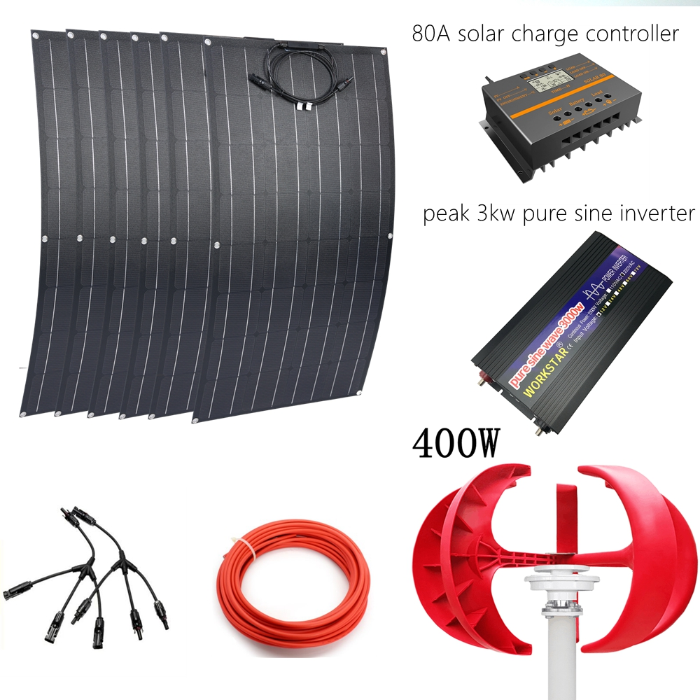 6*ETFE 100W Flexible <font><b>Solar</b></font> <font><b>Panels</b></font> Modules+400W Wind Generator With <font><b>3000w</b></font> Pure Sine Inverter 80A Controller Wind <font><b>Solar</b></font> System image