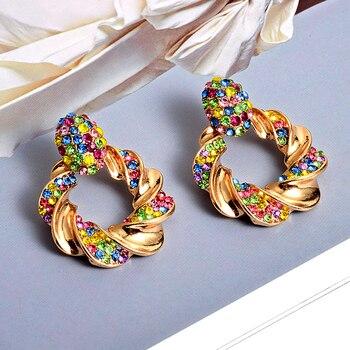 Gold Metal Rhinestone Crystal Drop Earrings  3