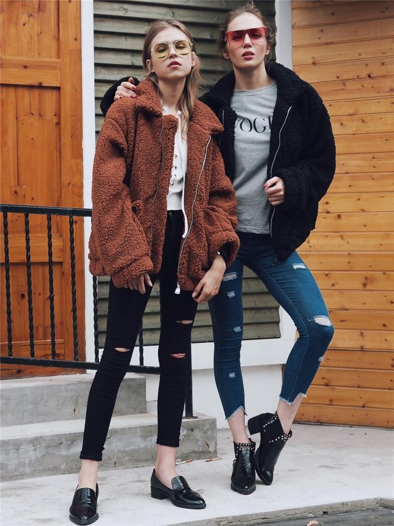 H92bbb61c1243420ba35e71a8f12daf4fo Autumn Winter Faux Fur Coat Women 2020 Casual Warm Soft Zipper Fur Jacket Plush Overcoat Pocket Plus Size Teddy Coat Female XXXL
