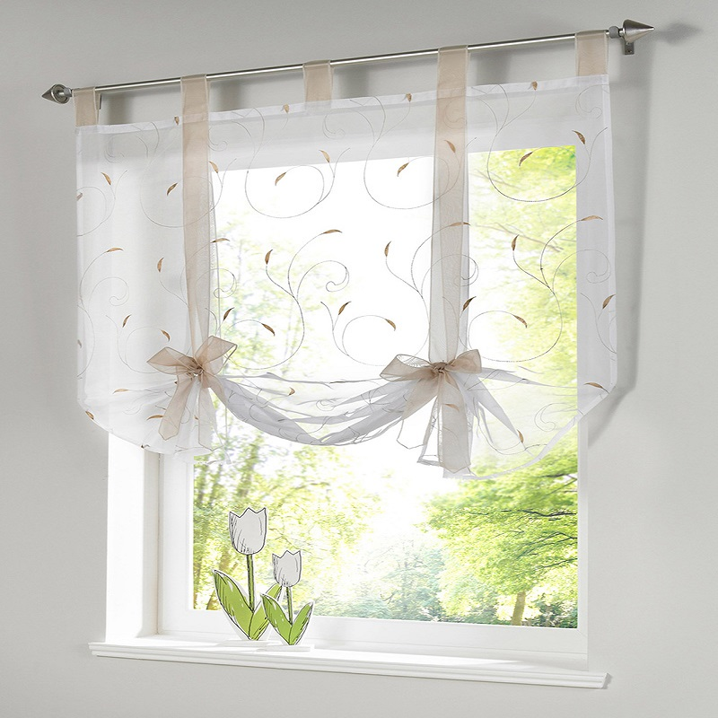 1PC Modern Window Roman Tulle Voil For Living Room Balcony Window Screening Shorts Kitchen Curtains 5 Colors