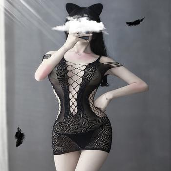 Seksowna bielizna nocna sukienka erotyczna bielizna koszula nocna Body Mesh bodystocking pokusa Teddy Catsuit bielizna nocna porno sukienka Babydoll tanie i dobre opinie WOAIXDD NYLON CN (pochodzenie) Baby dolls Łuk Egzotyczne odzież Koronki Y-ZE006Y WOMEN Plaid