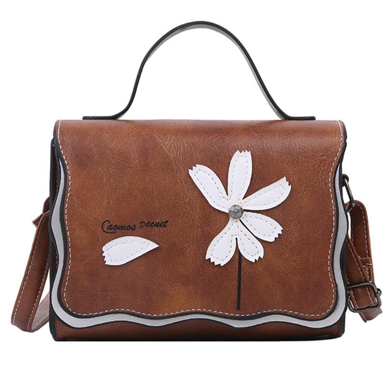 Women Elegant Crossbody Bag Retro Flower Decorative Shoulder Messenger Bag Female Casual Durable PU Leather Crossbody Bags