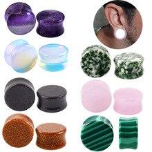 2PCS/Lot Stone Ear Plugs Gauges Earrings Women Men Ear Plug Flesh Tunnel Piercing Expander Ear Stretcher Body Piercing Jewelry