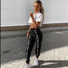 HOUZHOU pantalon de survêtement ample Hip Hop pour femmes, taille élastique, noir, Combat, Streetwear, mode, collection survêtement