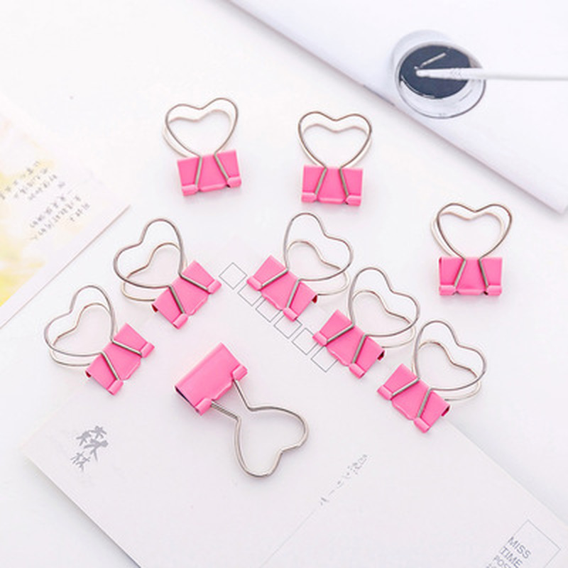 1pcs Love Clip Novelty Cute Small Clip Kawaii Stationery Magnetic Clips  Pink Paper Clips Student Binder Kawaii School Supplies