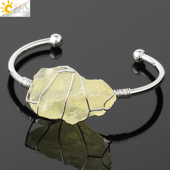 CSJA Natural Stone Bangle Gold-color Wire Wrap Irregular Crystal Quartz Cuff Copper Bracelets for Women Girls Kids Jewelry G327 12
