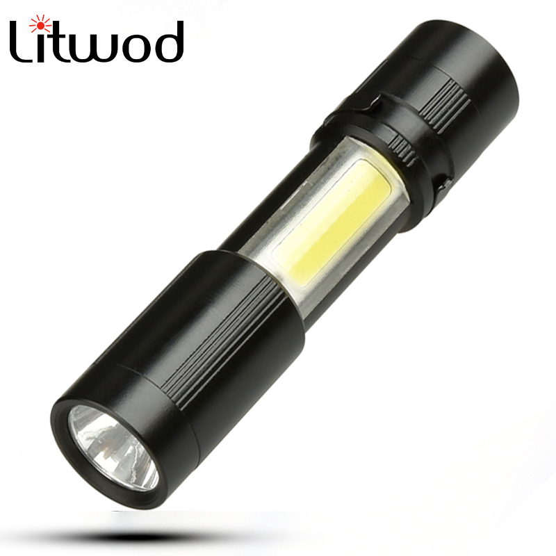 Litwod 1510 LED MINI Flashlight XPE + COB Zoomable Waterproof Aluminum 4 Modes Torch Use AAA Battery For Camping Working