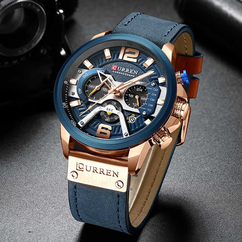 ساعة اليد رجالي CURREN 2019 العلامة التجارية الفاخرة ساعة رياضية الرجال موضة ساعات جلد مع التقويم للرجال ساعة سوداء الذكور