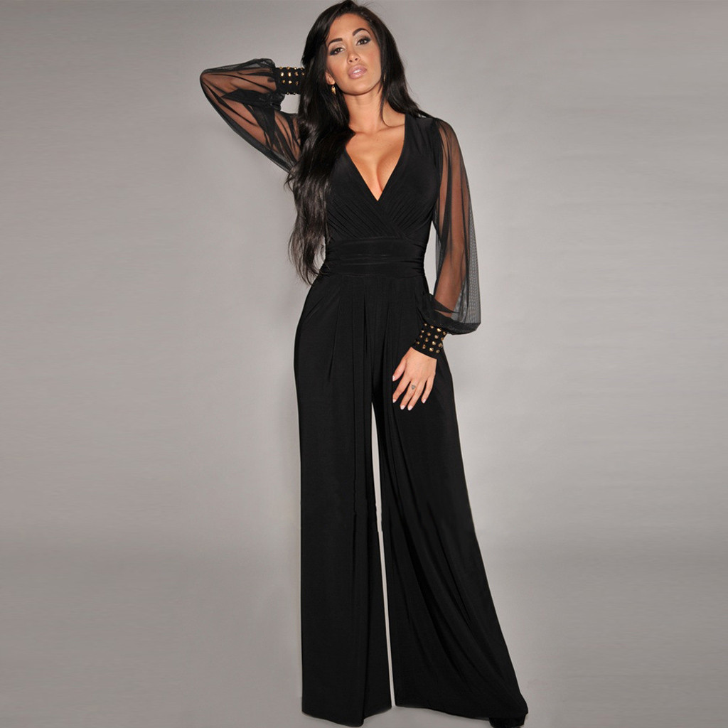 Women Sexy   Jumpsuits   Evening Party Lace Patchwork Pant Rompers Elegant Office Lady V-neck One Piece Wide Leg Overalls   Jumpsuit
