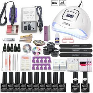 Набор для ногтей с УФ-светодиодной лампой, маникюрный набор для ногтей, 10 шт., Набор лаков для ногтей с дрелью, верхнее основание, покрытие, на...