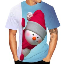 Couples 3D Printed Christmas Short-sleeved Top 2019  Fashion Men Snowman Party Club T-shirt