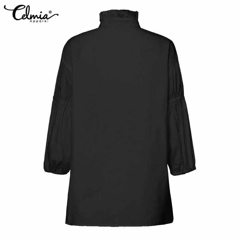 Модные женские плиссированные рубашки cellia 2019 cellia блузки с рукавом-фонариком повседневные свободные пуговицы офисные женские блузы Плюс Размер Топы
