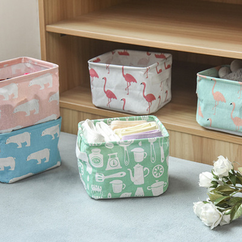 Northern European-Style Printed Cotton Linen With Handle Storage Basket Debris Storage Basket Fabric Desktop Makeup Storage Box