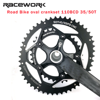 RACEWORK Chainring 110BCD 35/50T Oval Chain Ring Chainwheel Road Bicycle Folding Bike CNC for Double Chain Wheel fouriers mtb cnc bike big oval single chainring pcd bcd 96mm chain ring for shimano xt m8000 bolts narrow wide teeth chainwheel