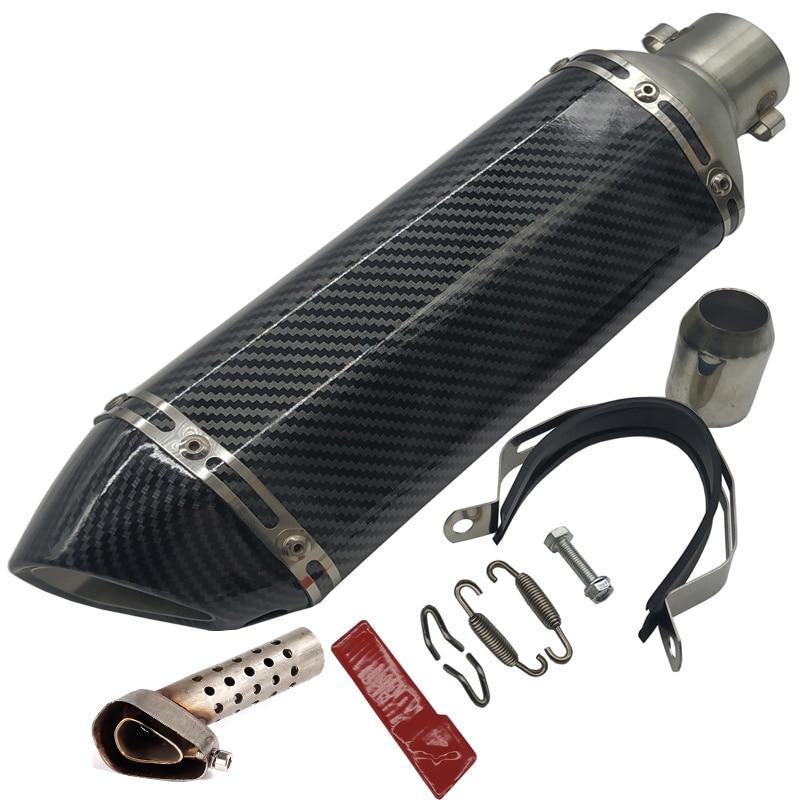 Выхлопная труба для мотоцикла Turbo из углеродного волокна, мотоциклетный глушитель с дБ-убийцей, глушитель Acrapovich, ленточные фланцы для труб