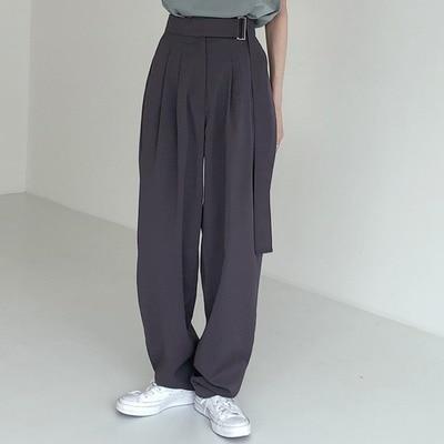 Fashion Belted Women Long Pants High Waist Causal Loose Trouser For Women Pants Elegant Wide Leg Capris Female 2020