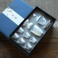WIZAMONY New Jade Mud Hand Painted Tea Set Ceramic Kung Fu Tea Set Chinese nian li with Souvenir Gift Customization