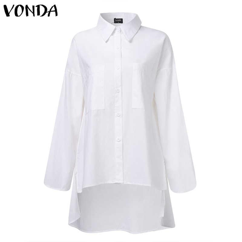비대칭 튜닉 여성 파티 탑스 블라우스 옷깃 넥 셔츠 VONDA 2020 봄 여름 해변 탑 여성 캐주얼 블러 사 플러스 사이즈