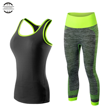Hot Womens Running Set Vest+Pants SportSuit Fitness Tights Top Jogging Suits for Women Gym Tracksuit Yoga Quicn Dry Sportswear