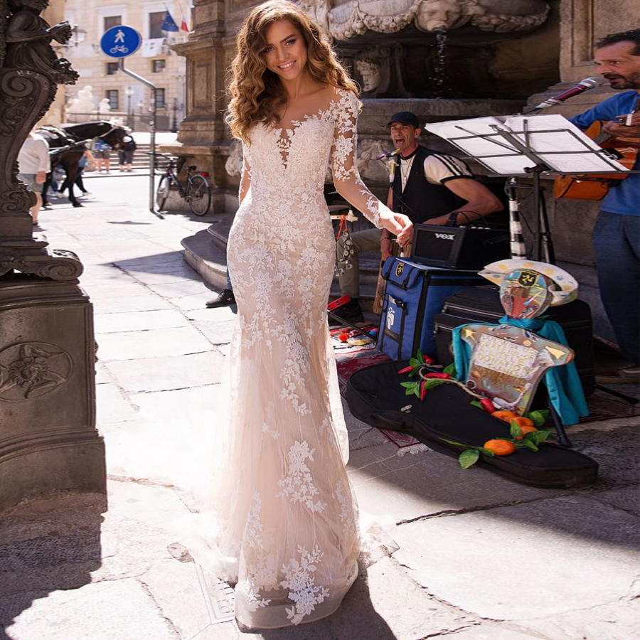 Mermaid Lace Wedding Dress 2020 Long Sleeves Appliqued Tulle Buttons Back Boho Wedding Gown Bride Dress Illusion Bridal Gown