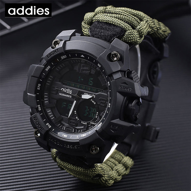 AIDIS Survive Outdoor Watch Emergency with Night Vision 30M Waterproof Paracord Knife Compass Whistles First Aid Kits G Style 4