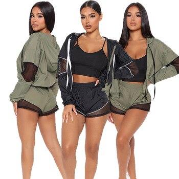 Autumn Women Hooded Set 3pcs Jacket + Tank Crop Top + Short Pants drawstring tracksuit women Sportsuit For Women