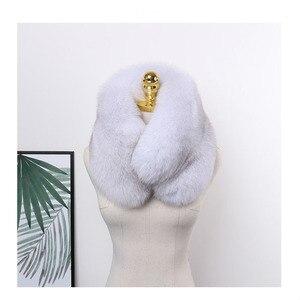 Image 5 - MS.MinShu роскошный шарф из натурального Лисьего меха, шарф из лисьего меха, большой размер, шаль из натурального Лисьего меха, зимний женский палантин, бесплатная доставка