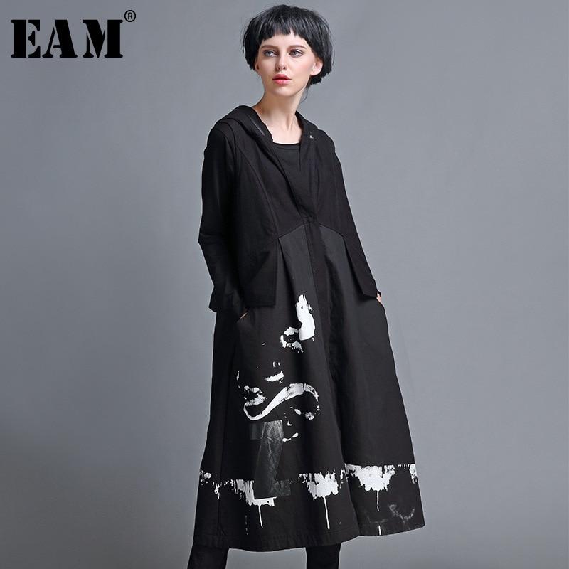 [EAM] Women Loose Fit Khaki Pocket Stitch Big Size Long Vest New Hooded Sleeveless Fashion Tide Spring Autumn 2019 MC2300